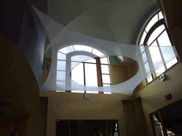 Interior architectural fabric tension structure